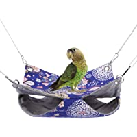 Warm Double Hammock Bird Nest Hut Bed Toy for Pet Parrot Parakeet Cockatiel Conure Cockatoo African Grey Amazon Budgie Lovebird Finch Canary Hamster Rat Gerbils Chinchilla Cage Perch