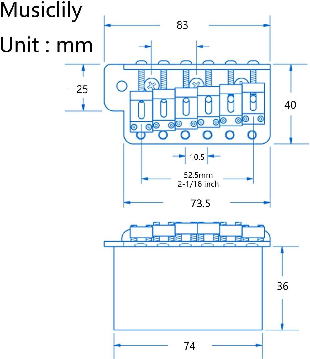 Wilkinson 10.5mm ビンテージスタイル フルブロックST ギタートレモロユニット ブリッジ スクワイア/メキシコフェンダーストラト用6本のネジ、クローム 寸法図