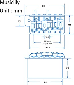 Wilkinson 10.5mm ビンテージスタイル フルブロックST ギタートレモロユニット ブリッジ 寸法表