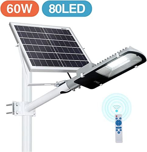 60W LED Solar Street Lights Outdoor, Dusk to Dawn Security Flood Light with Remote Control Pole, Wireless, Waterproof, Perfect for Yard, Parking lot, Street, Garden and Garage
