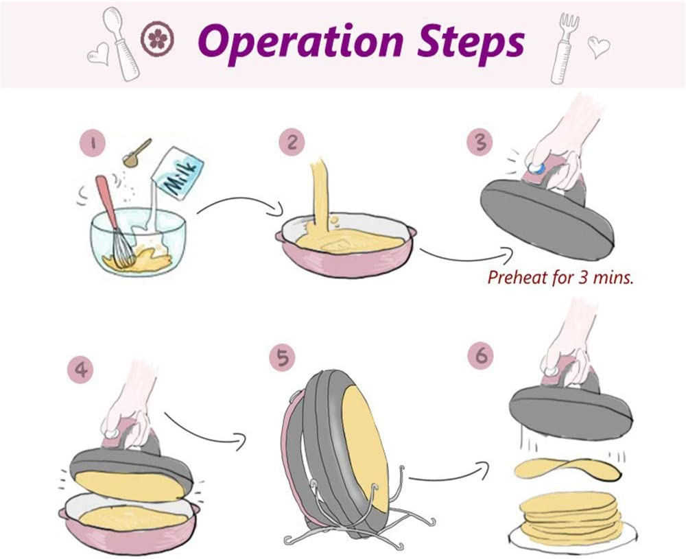 with On//Off Switch Automatic Temperature Control and Cool-Touch Handle JIASHU Crepe Maker Automatic Non-Stick Crepe Maker Mini Pancake Machine Spatula Included