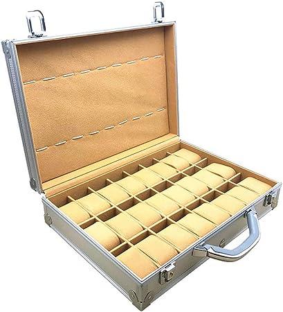 Estuche para RelojesTitular de la joyería Caja Aluminio Caso del reloj del almacenaje 33-Slot pulsera de la exhibición con el bloqueo del metal y Tapa abatible,Plata: Amazon.es: Hogar