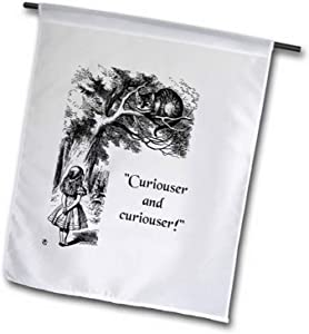 """3dRose Curiouser and Curiouser Alice in Wonderland Lewis Carroll Quote Garden Flag, 12 by 18"""""""