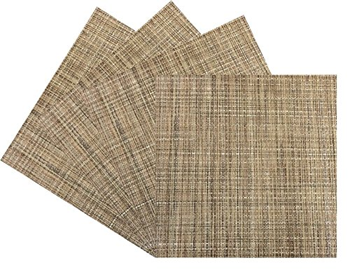 Benson Mills Tweed Woven Vinyl Placemat (Set of 4), Natural (Square Placemats Table Small For)