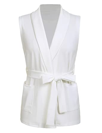 c6781ca8dc sholdnut Womens Casual Turn-Down Collar Sleeveless Pocket Solid Elegant Vest  Cardigan with Belt