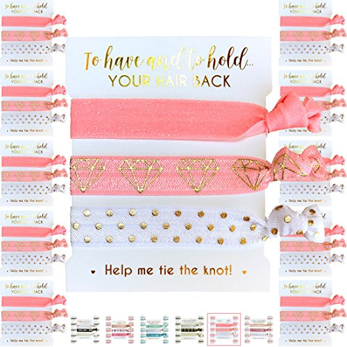 10 x 3-Pack Hair Ties - Bachelorette and Wedding Shower Party Favors for Bridesmaids, Team Bride, Bride Tribe - 30 Hair Ties in Total! (Pink White & Gold) -