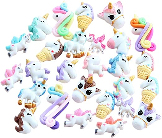 10 x UNICORNS Flat Back Embellishments for Hairband Cards Phones Choose Colours