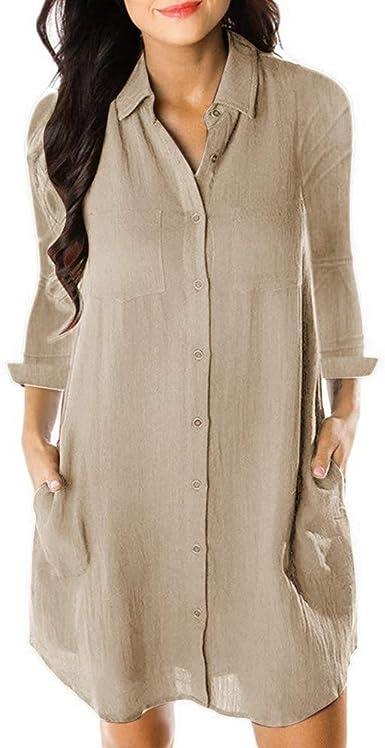 Reooly Solapas con Botones, Vestido de Mujer de Moda Casual Camisa Larga Vestido de Manga Larga Suelto para Mujer: Amazon.es: Ropa y accesorios