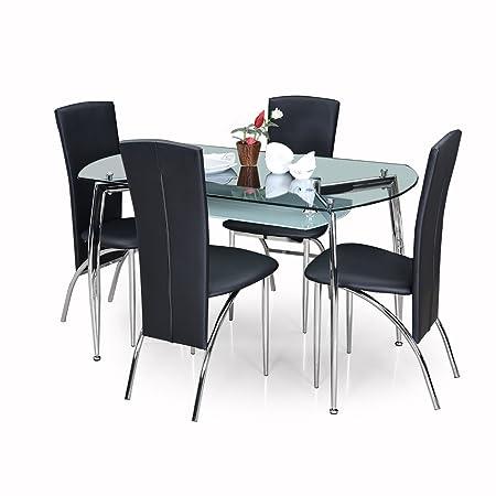 Royaloak Sonata Four Seater Dining Table Set (Black)