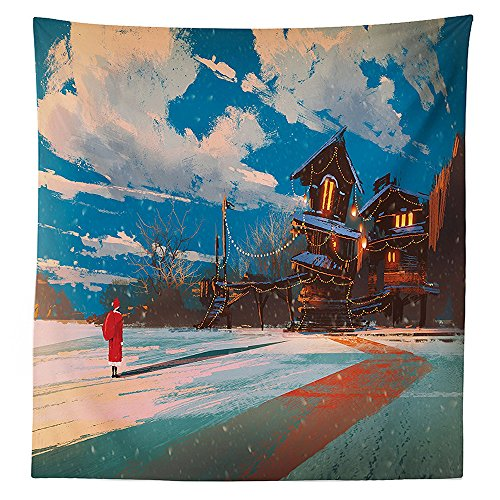 Fantasy Art House Decor Tablecloth Christmas Santa Claus Comes to Town Concept Noel Holiday Winter Print Dining Room Kitchen Rectangular Table Cover Multi