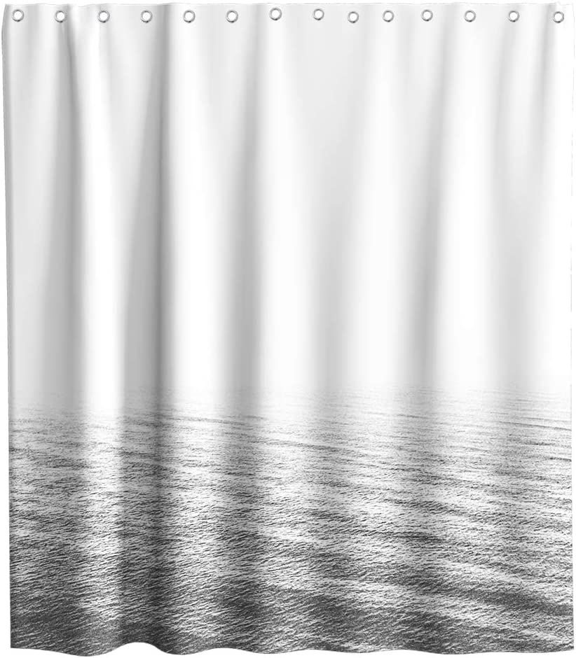 Ocean Theme Fabric Shower Curtain Sets Simple Clear Bathroom Coastal Nautical Beach Decor with Hooks Waterproof Washable 72 x 72 inches Grey White and Black