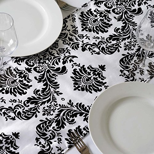 BalsaCircle 5 pcs 12 x 108-Inch Black Damask on White Flocking Taffeta Table Top Runners - Wedding Party Linens Decorations