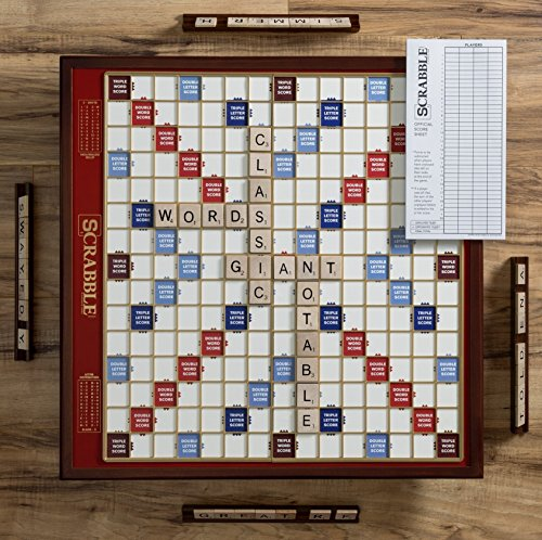 Scrabble Giant Deluxe Edition with Rotating Wooden (Scrabble Board Game)