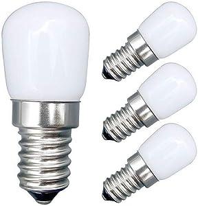 EBD Lighting 2W E12 LED Refrigerator Bulb(4 Pack) E12 Base Mini 2W Refrigerator Light Warm White 3000K 110V Dimmable E12 LED Appliance Bulb for Freezer Oven Microwave Lighting,Home Lighting