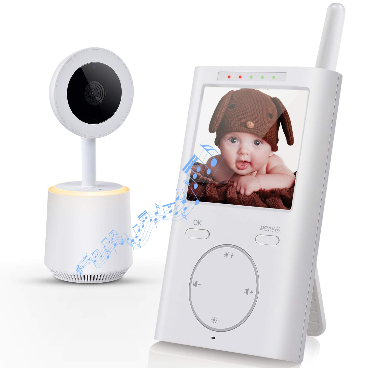 Samxic Video Baby Monitor with 720P Camera, 5 Inches Display, Crying Temperature Alert, Two-Way Talk, No Glow Night Vision, Remote Pan Tilt Zoom, High Privacy Baby Monitor System
