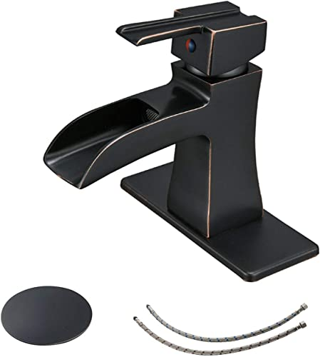 BWE Oil Rubbed Bronze Commercial Single Handle One Hole Deck Mount Waterfall Bathroom Sink Faucet Lavatory