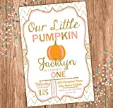 Fall Custom Birthday Invitation - Pumpkin Themed Party Invite - Our Little Pumpkin - Gold Chevron -Personalized - Pink, Pumpkin and Gold