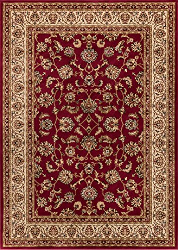 "Noble Sarouk Red Persian Floral Oriental Formal Traditional Area Rug 8×10 8×11 ( 7'10"" x 9'10"" ) Easy to Clean Stain Fade Resistant Shed Free Modern Contemporary Traditional Living Dining Room Rug For Sale"