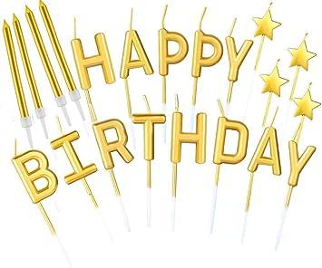 B•You Velas de Cumpleaños,Velas de Tarta de Cumpleaños 21piezas Dorado Happy Birthday Letras Estrella Metálicas Velas Altas Delgadas Doradas en ...
