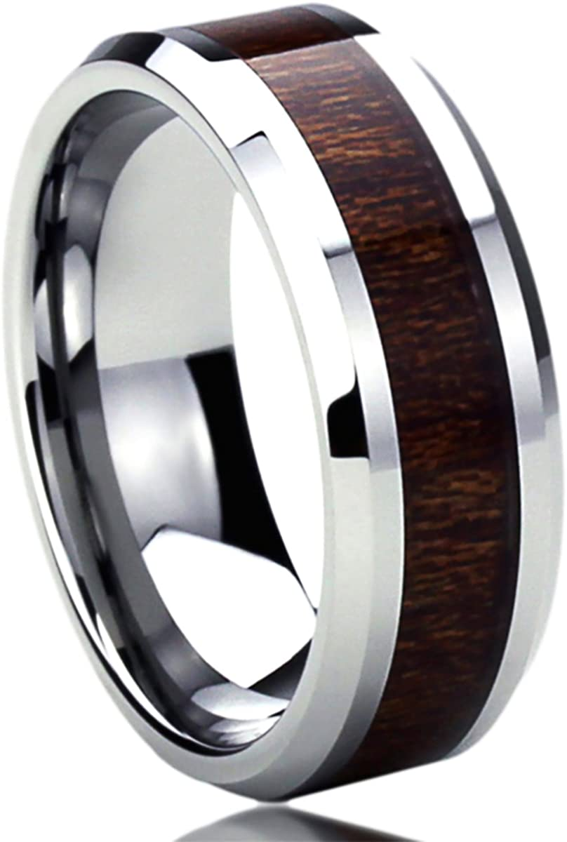 Prime Pristine 8mm Stainless Steel Wedding Band Ring for Men & Women Wood Grain Inlay Ring for Men & Woman