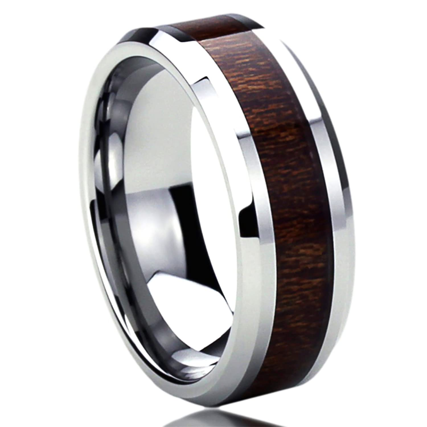 8MM Stainless Steel Mens Womens Rings Wood Grain Inlay fort Fit