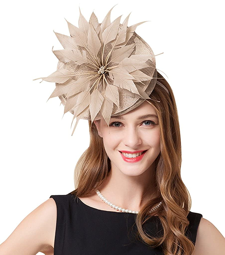 Edith Qi Womens Handmade Fascinator On Headband Wedding Guest Hat Kentucky Derby Middleton Style Church At Amazon Women's Clothing Store: Headband For Wedding Guest At Websimilar.org
