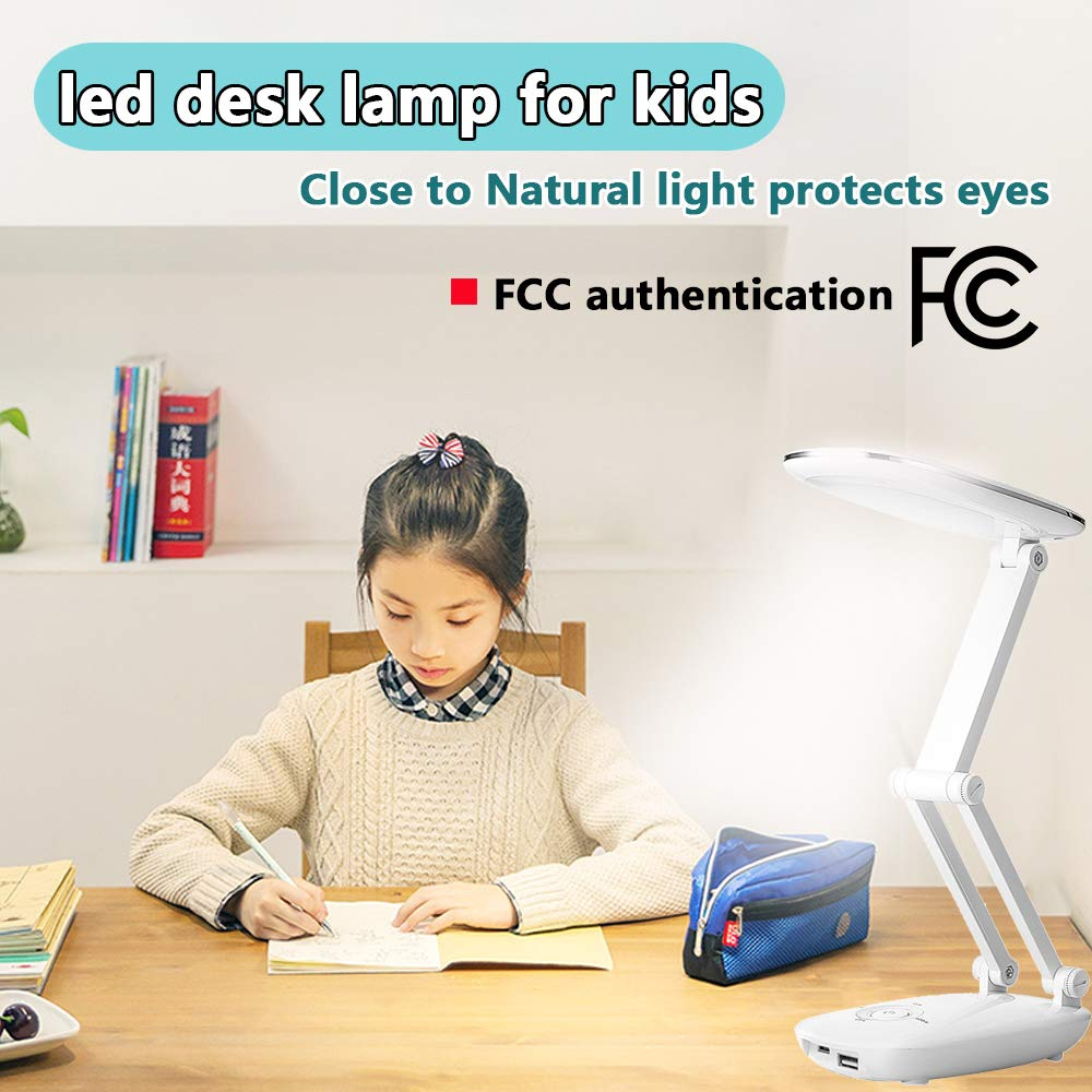 LED Kids Table Lamp with USB Charging Port - Modern best LED desk lamp for study