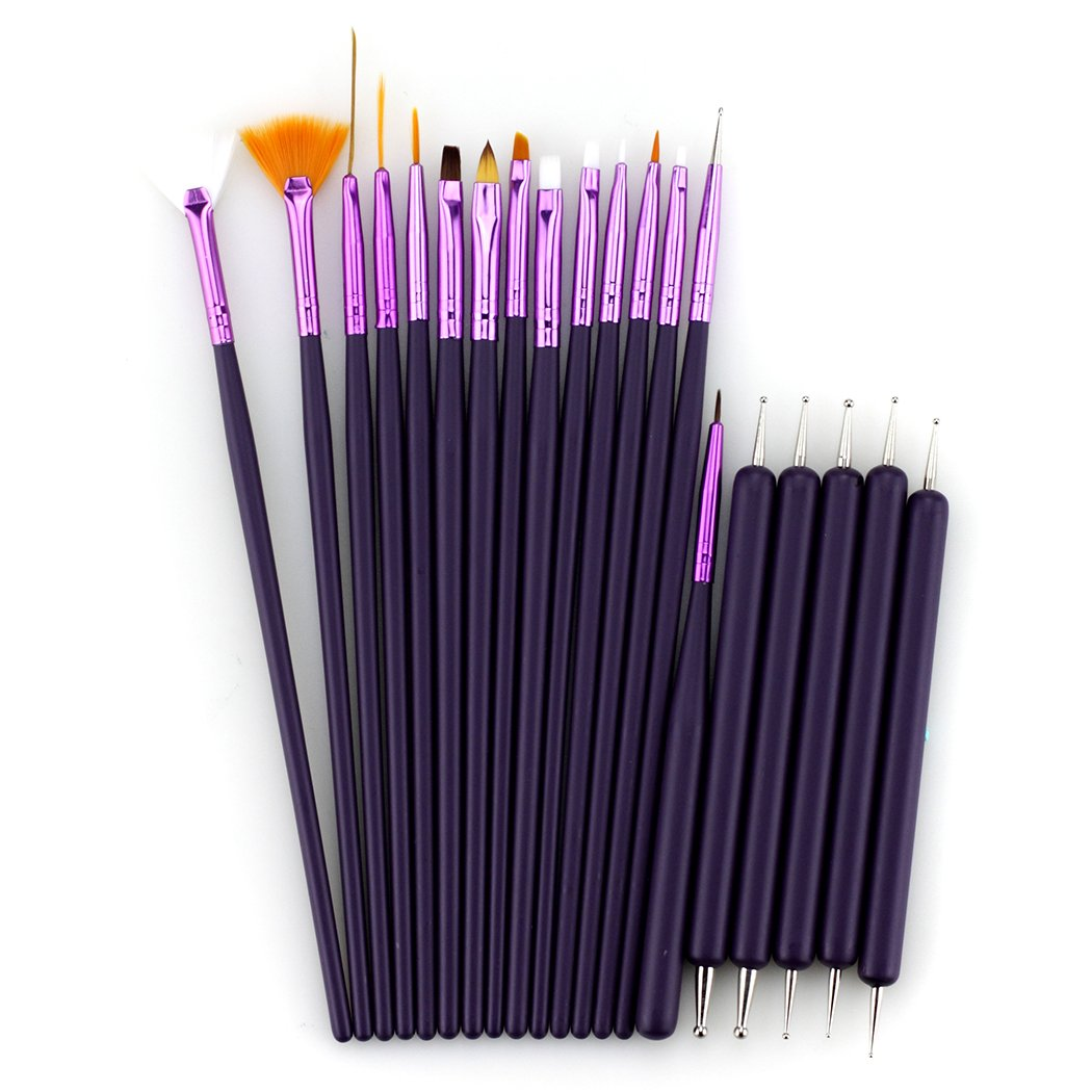 Glow 20 piece Nail Art Brushes and Nail Dotting Tools Set; Purple Paragon Enterprise Limited