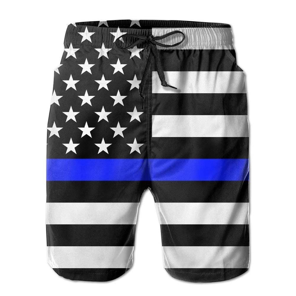 Fine Blue Line Flag of The United States Men's/Boys Casual Swim Trunks Short Elastic Waist Beach Pants with Pockets XX-Large