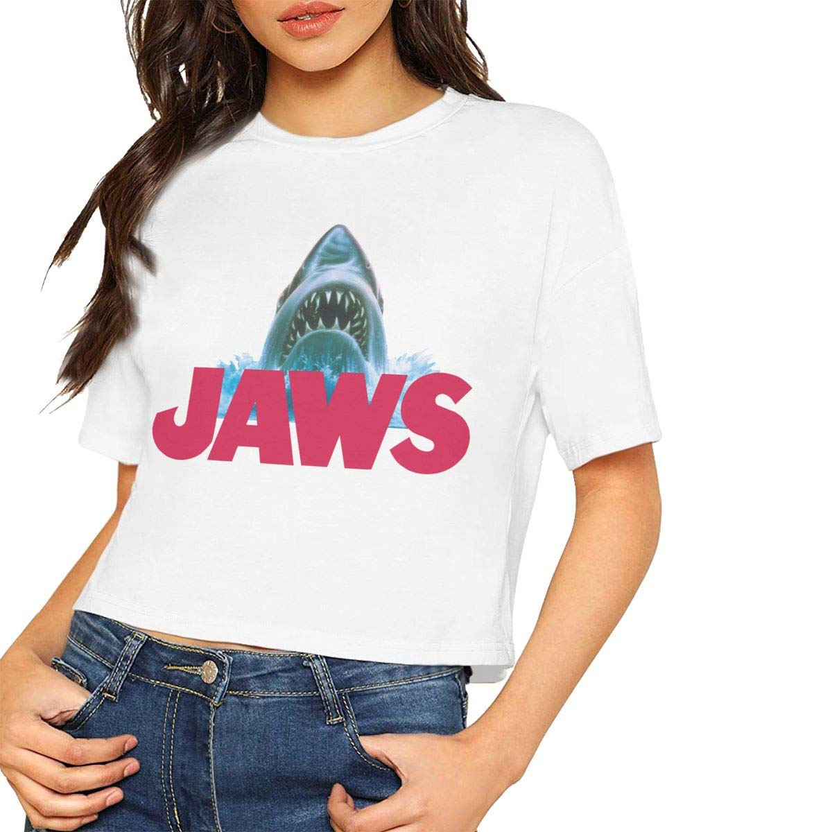 Smooffly Womens Crop Tops Jaws Short Sleeves T-Shirts