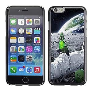 KLONGSHOP // Cubierta de piel con cierre a presión Shell trasero duro de goma Protección Caso - Astronauta de la cerveza - Apple Iphone 6 Plus 5.5 //