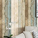 Blooming Wall 0205 Multicolored Vintage Distressed Wood Panel Wood Plank Wallpaper Wall Mural for Livingroom Bedroom Kitchen Bathroom,57 Sq Ft/Roll (910205)
