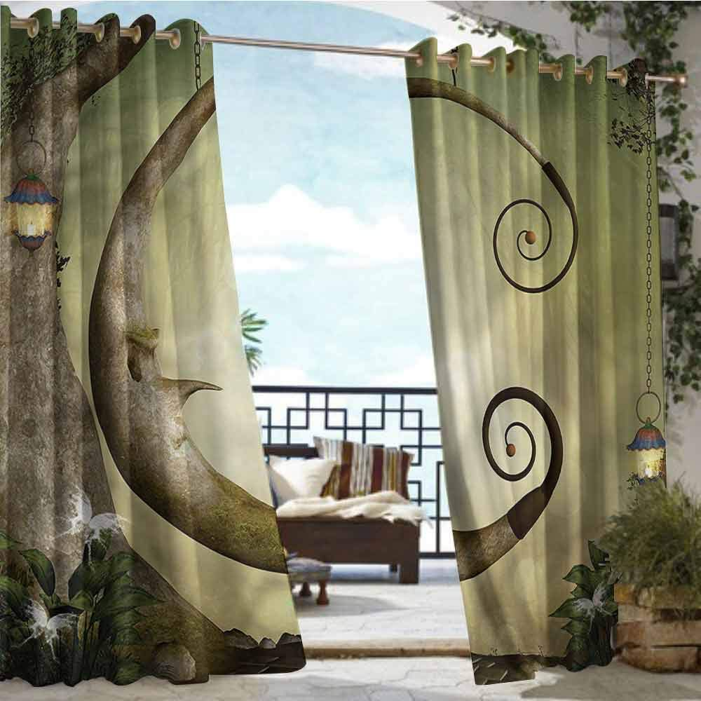Balcony Curtains Cartoon,Forest with Swing and Trees,W84 xL96 Thermal Insulated Water Repellent Drape for Balcony by crabee
