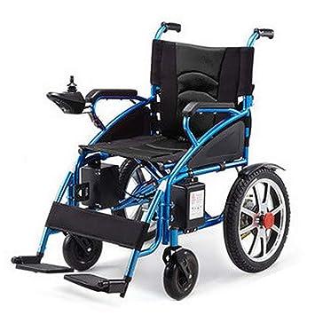 YUFI Silla de ruedas eléctrica, silla de ruedas para discapacitados Ancianos Silla de ruedas eléctrica Ligera plegable Silla de ruedas azul -: Amazon.es: ...