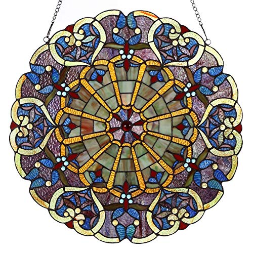 es High Webbed Heart Decorative Tiffany Style Stained Glass Window Panel with Hanging Chain ()