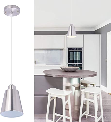 Modern Mini Hanging Pendant Light Brushed Nickel Kitchen Island Light Adjustable 1-Light Lighting Fixture Slope Ceiling Available 5.9'' Metal Shade