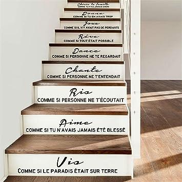 pegatina de pared frases Adhesivo de la escalera Cita francesa Cheris ta famille salón decoración del hogar: Amazon.es: Bricolaje y herramientas
