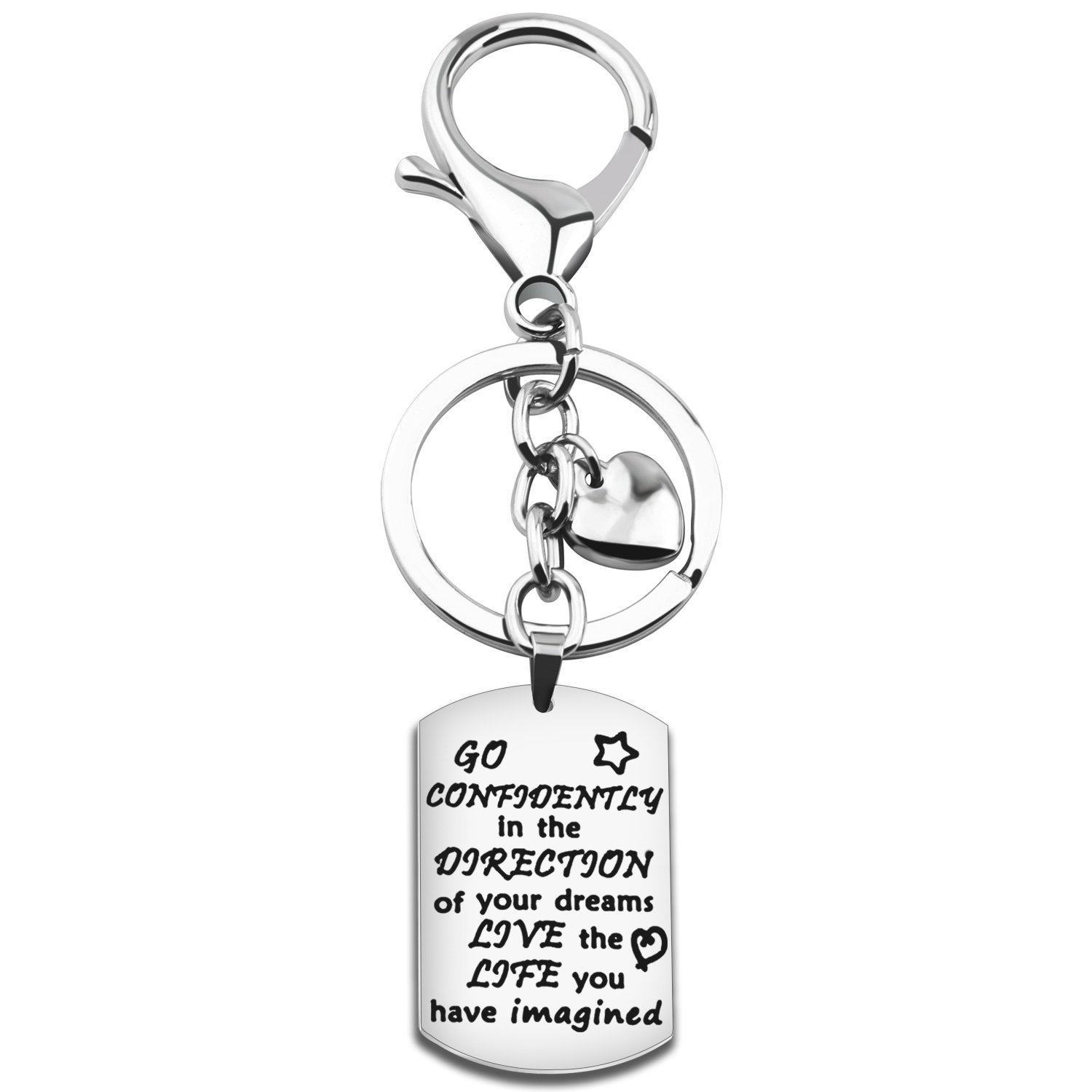 Gzrlyf Graduation Keychain Go Confidently In The Direction Of Your Dreams Keychain Inspirational Gift (keychain)