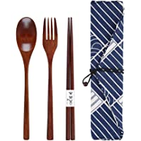 BESTOMZ Wooden Lunch Cutlery Set Spoon Fork Chopsticks Portable Tableware Set with Blue Pouch Travel Utensils Set for Students Adult Office Outdoor Travel Camping