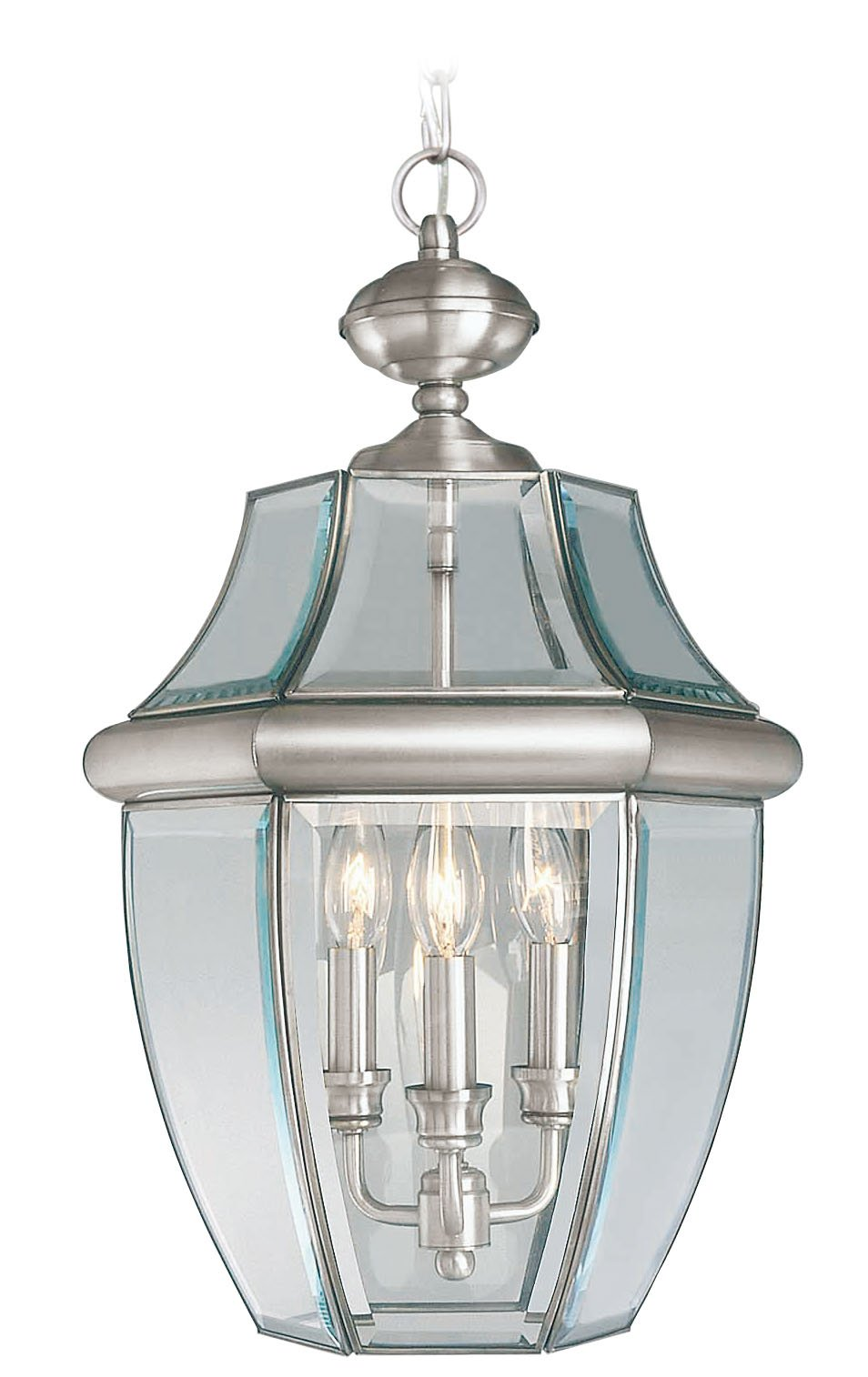 Livex Lighting 2355-91 Monterey 3 Light Outdoor Brushed Nickel Finish Solid Brass Hanging Lantern with Clear Beveled Glass by Livex Lighting