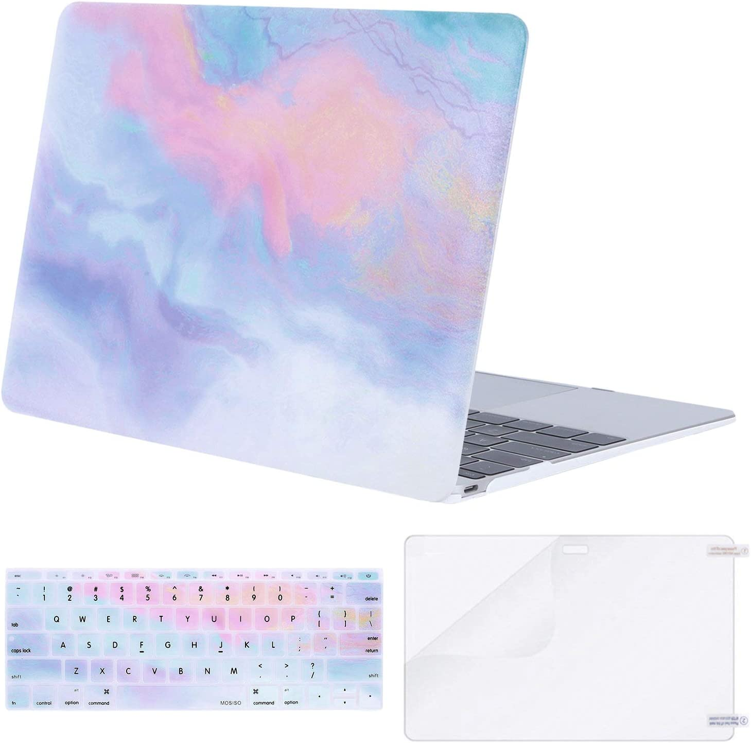 MOSISO MacBook 12 inch Case (Model A1534, Release 2017 2016 2015), Plastic Pattern Hard Shell & Keyboard Cover & Screen Protector Compatible with MacBook 12 inch with Retina Display, Colorful Clouds