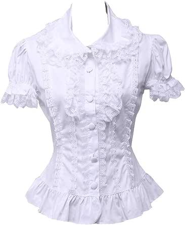 Blanca Algodón Encaje Volantes Manga de Soplo Vintage Victoriana Lolita Camisa Blusa de Mujer: Amazon.es: Ropa y accesorios