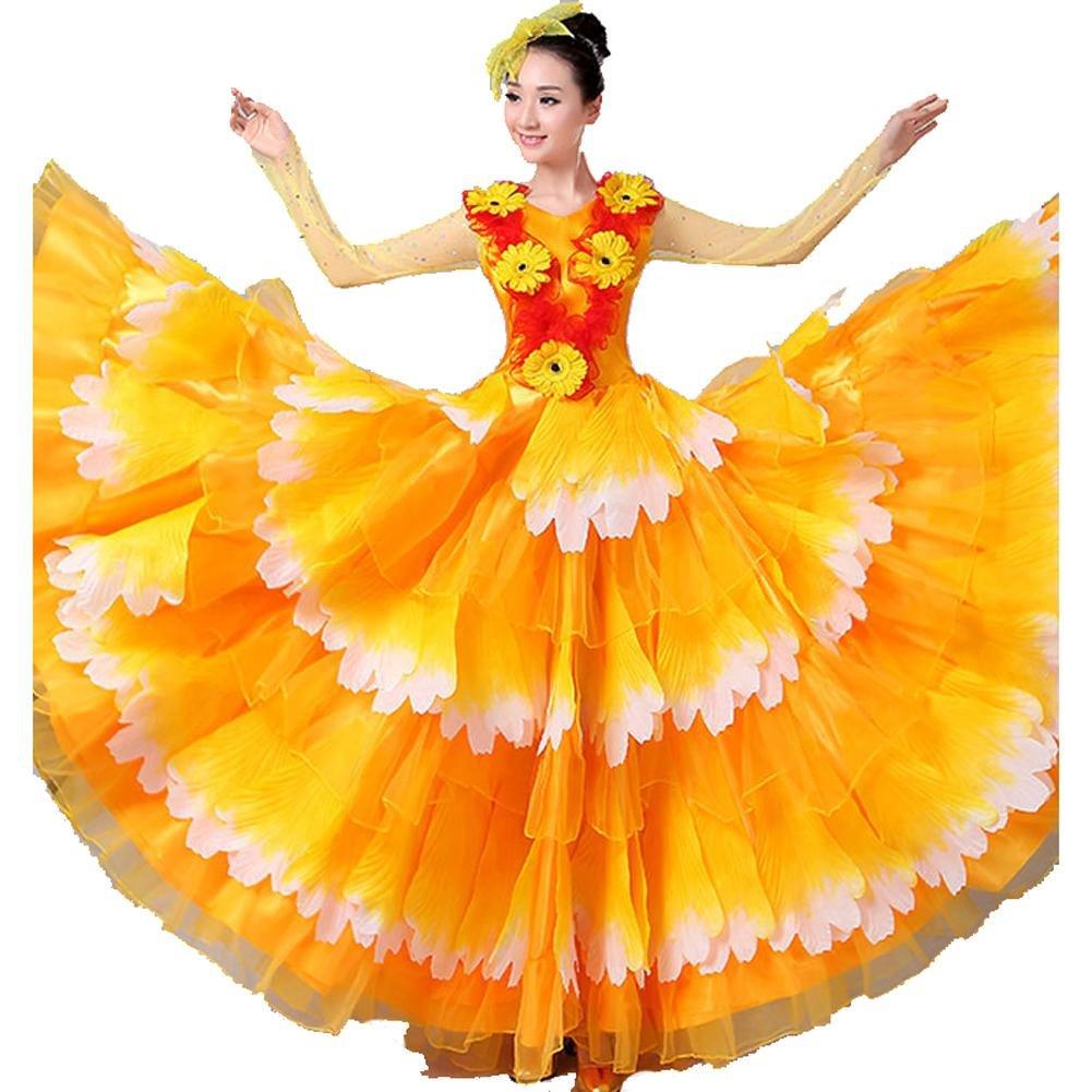 Jaune skirt 540 Byjia Robe De Flamenco pour Femme Adulte 180 360 540 720 Foulards en Devert Jupe Costumes De Perforhommece Ouverture Danse Floraison Florissante Big Swing Chorus S