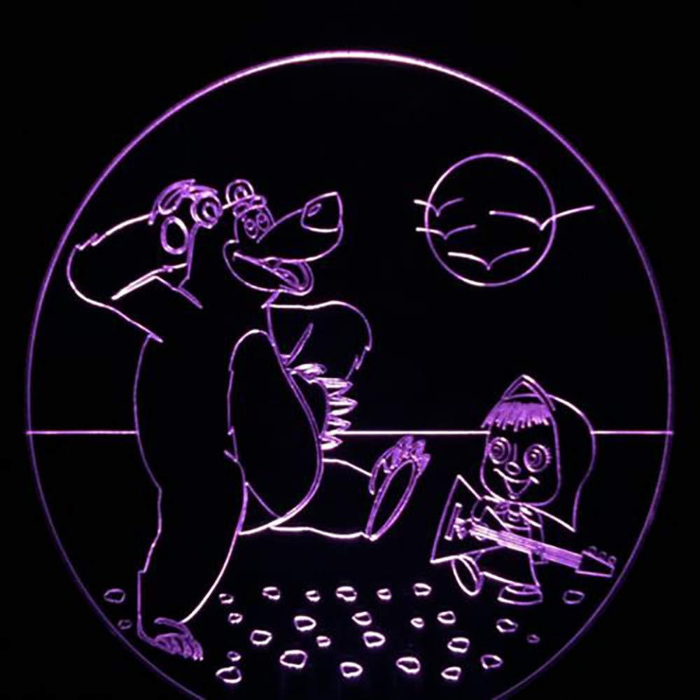 Mzdpp Mzdpp Mzdpp 3D Visual Kids Touch Usb 7 Cambio De Color Led Oso Y Niña Toca Guitarra Luz De Noche Bebé Sueño Iluminación Decoración Lámpara De Escritorio 76662d