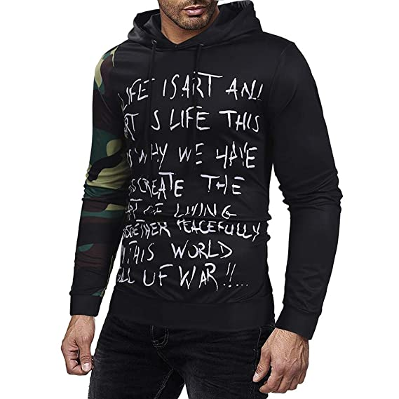 Amazon.com: Realdo Mens Personality Sweatshirt Clearance Sale, Mens Autumn Casual Letter Print Camouflage Splice Sweater Hoodie: Clothing