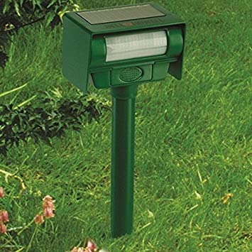 "Matts Global Solar Animal Repeller Built in Infrared Motion Detector Activates (70"" with Strobe"