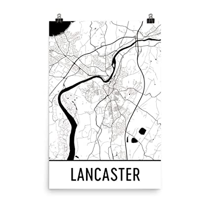 Map Of Usa And England.Amazon Com Lancaster Map Art Print Lancaster England Art Poster