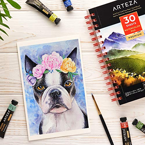 Arteza 5.5x8.5 Inch Watercolor Pad, Pack of 3, 90 Sheets 140lb/300gsm, 30 Sheets Each, Spiral Bound Acid Free Cold Pressed Paper, Painting & Drawing Sketchbook, Art Supplies for Wet, Dry & Mixed Media