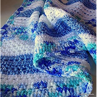 Crochet baby blanket in blue and white acrylic, Handmade afghan from Chocolate Dog Studio
