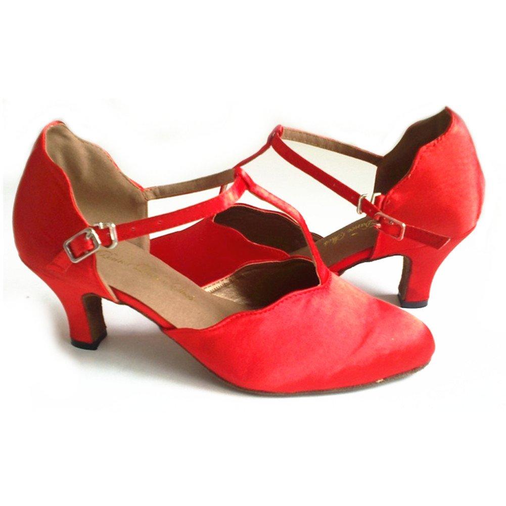 QWERTYUIOP Frauen Spitzen Spitzen Spitzen Zehe Latein Tanzschuhe,Leise Unten Satin High Heel Salsa Soziale Tanzschuhe Indoor Sandale Schwarz bc81c0